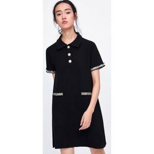 Zara Black Polo Tweed Trim Faux Pearl Button Dress